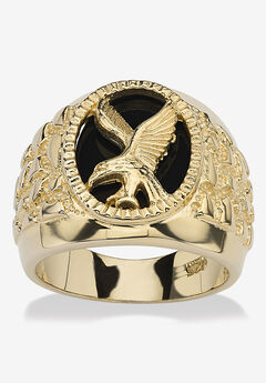 Men's Yellow Gold over Sterling Silver Natural Black Onyx Eagle Ring,