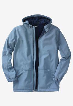 Fleece-Lined Rain Coat, SLATE BLUE