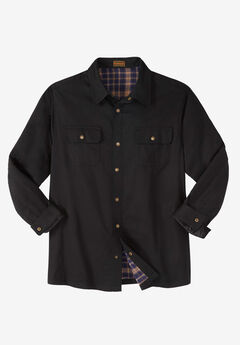 Flannel-Lined Twill Shirt Jacket by Boulder Creek®, BLACK
