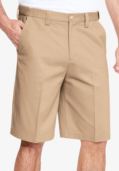 Classic Fit Wrinkle-Free Expandable Waist Plain Front Shorts,