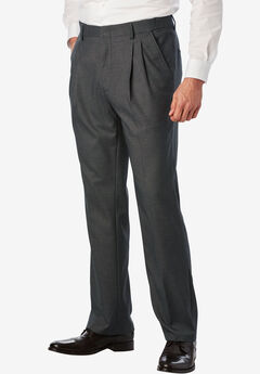 Easy-Care Classic Fit Expandable Waist Double-Pleat Front Dress Pants, GREY