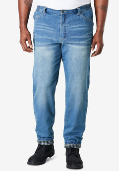 Flannel Lined Side-Elastic Jeans by Liberty Blues®,