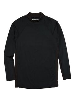 Mock Neck Base Layer Shirt by KS Sport™, BLACK