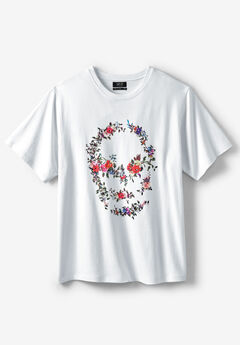 MVP Collections® Floral Rhinestone Embellished Skull-Print Tee, CRYSTAL WHITE