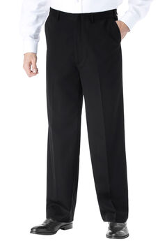 KS Signature No Hassle® Classic Fit Expandable Waist Plain Front Dress Pants, BLACK