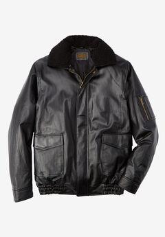 Leather Flight Bomber Jacket, VERY BLACK