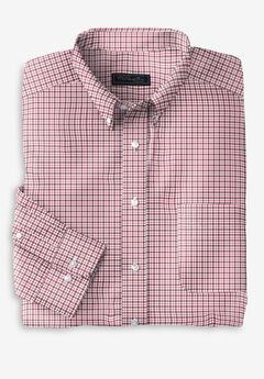 KS Signature Wrinkle-Resistant Oxford Dress Shirt, RASPBERRY CHECK