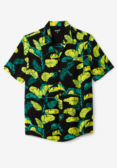KS Island™ Tropical Caribbean Camp Shirt, YELLOW LEAF