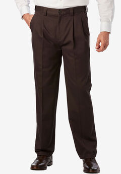 Classic Fit Wrinkle Free Expandable Waist Pleat Front Pants,