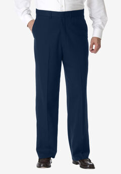 KS Signature No Hassle® Classic Fit Expandable Waist Plain Front Dress Pants, NAVY