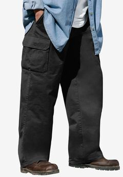 Boulder Creek® Side-Elastic Waist Cargo Pants, BLACK