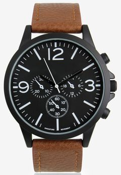 Multi-Dial Watch with Faux Leather Band,