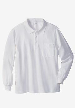 Long-sleeve Piqué Polo, WHITE