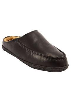 Fur-Lined Clog Slippers, BLACK