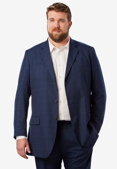 Easy Movement® Three-Button Jacket by KS Signature, NAVY WINDOW PANE