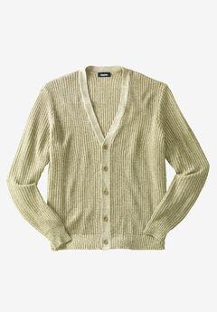 Shaker Knit V-Neck Cardigan Sweater, KHAKI MARL