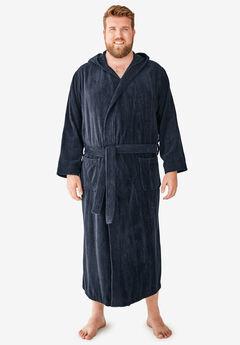 Terry Velour Hooded Maxi Robe, BLACK