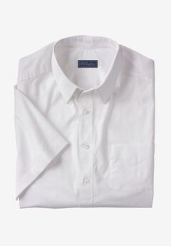 Signature Fit Broadcloth Short-Sleeve Dress Shirt, WHITE