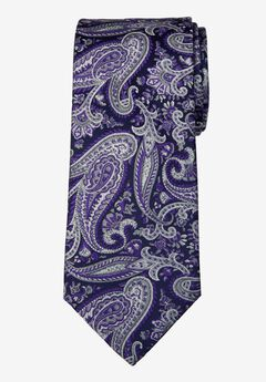 KS Signature Extra Long Classic Paisley Tie, PURPLE PAISLEY