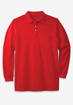 Longer-Length Long-Sleeve Piqué Polo,
