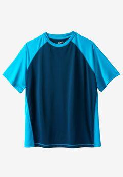 Raglan Sleeve Swim Shirt, NAVY ELECTRIC TURQUOISE