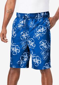 Hibiscus Print Swim Trunks, ROYAL BLUE