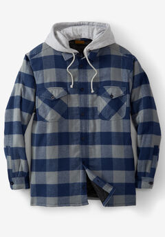 Removable Hood Shirt Jacket by Boulder Creek®, NAVY BUFFALO CHECK
