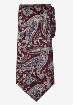 KS Signature Extra Long Classic Paisley Tie, BURGUNDY PAISLEY