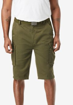 "12"" Side Elastic Cargo Short with Twill Belt, MOSS GREEN"