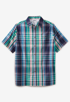 Short-Sleeve Plaid Sport Shirt, NAVY BLUE PLAID