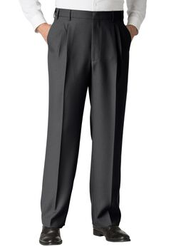 Easy-Care Classic Fit Expandable Waist Double-Pleat Front Dress Pants, HEATHER CHARCOAL