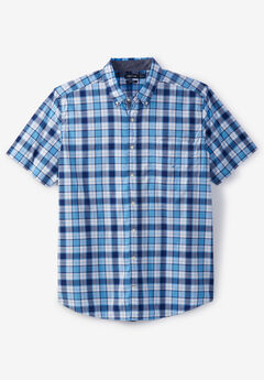 Nautica® Poplin Short-Sleeve Button Down Shirt, AZURE BLUE PLAID