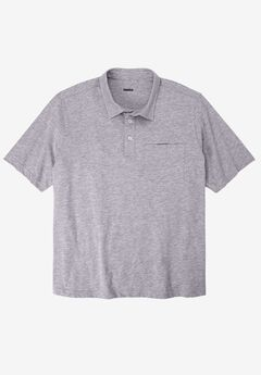 Lightweight Polo T-Shirt, HEATHER GREY