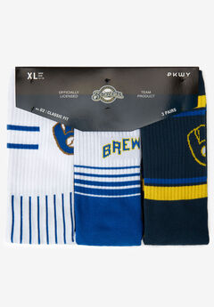 MLB 3-Pack Socks, MILWAUKEE BREWERS