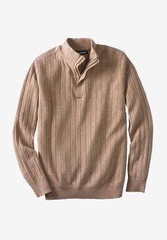 ¼ -Zip Mock Neck Lightweight Sweater, HEATHER CAMEL