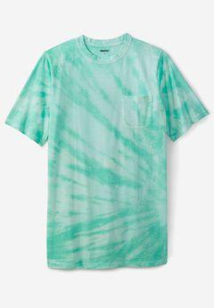 Lightweight Longer-Length Crewneck Pocket T-Shirt, TIDAL GREEN MARBLE