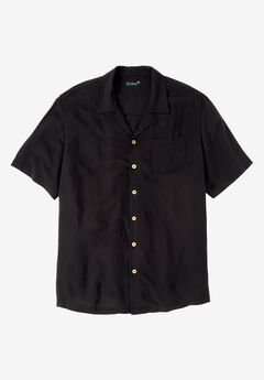 KS Island™ Solid Tropical Shirt, BLACK