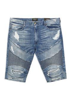 MVP Collections® Denim Moto Shorts,
