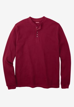 Waffle Knit Thermal Henley Tee, RICH BURGUNDY