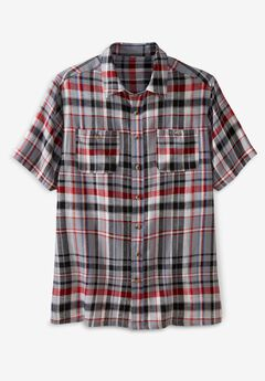 Short-Sleeve Linen Shirt, GUNMETAL PLAID