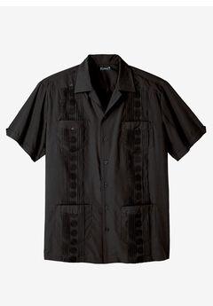 KS Island™ Short-Sleeve Guayabera Shirt, BLACK