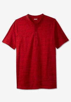Shrink-Less™ Lightweight Henley Longer Length T-Shirt,