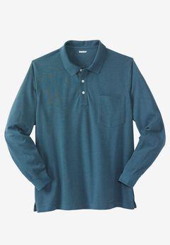 Long-Sleeve Piqué Polo Shirt , HEATHER MIDNIGHT TEAL