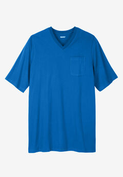 Shrink-Less™ Lightweight Longer-Length V-neck T-shirt, ROYAL BLUE