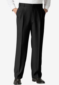 Easy-Care Classic Fit Expandable Waist Double-Pleat Front Dress Pants, BLACK