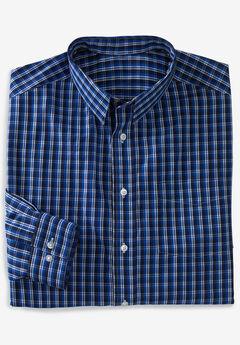 No Hassle® Long-Sleeve Dress Shirt by KS Signature®, NAVY CHECK