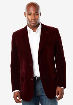 Velvet Blazer by KS Signature, BURGUNDY