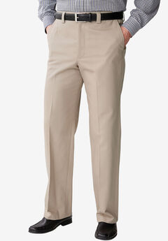 Relaxed Fit Wrinkle-Free Full Elastic Plain Front Pants,