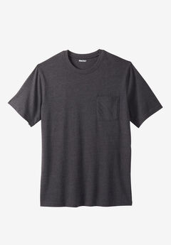 Shrink-Less™ Lightweight Pocket Crewneck T-Shirt, HEATHER CHARCOAL
