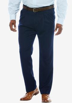 KS Signature No Hassle® Classic Fit Expandable Waist Double-Pleat Dress Pants, NAVY
